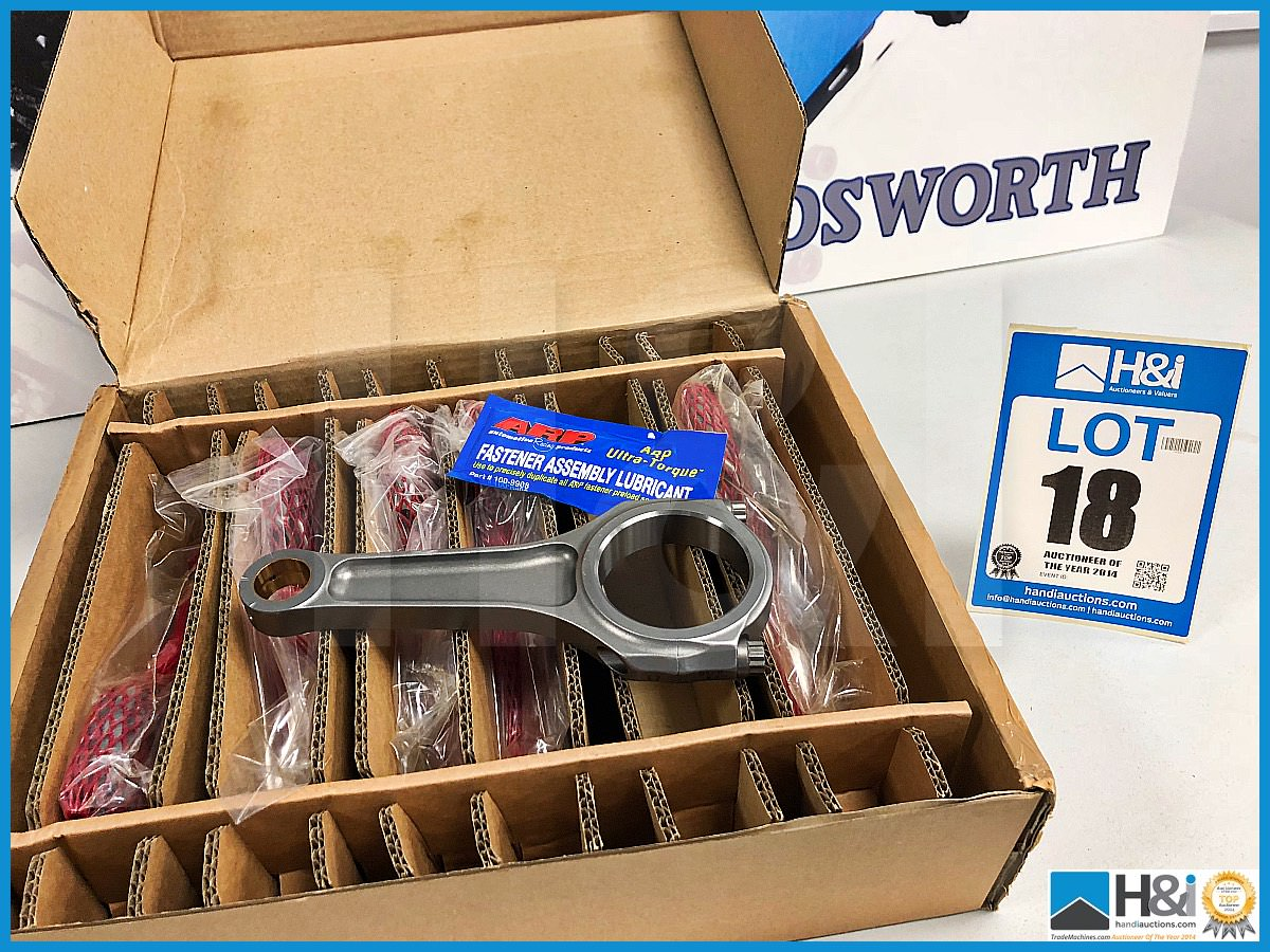 Lot 18 - 1 x Box of 6 Cosworth Lotus GL con rod assy - piston guided GT2. Code: 20024621. Lot 200