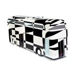 Artist: Stephen McKay  Design: Dazzle Bus    About the artist   Liverpool based artist Stephen likes