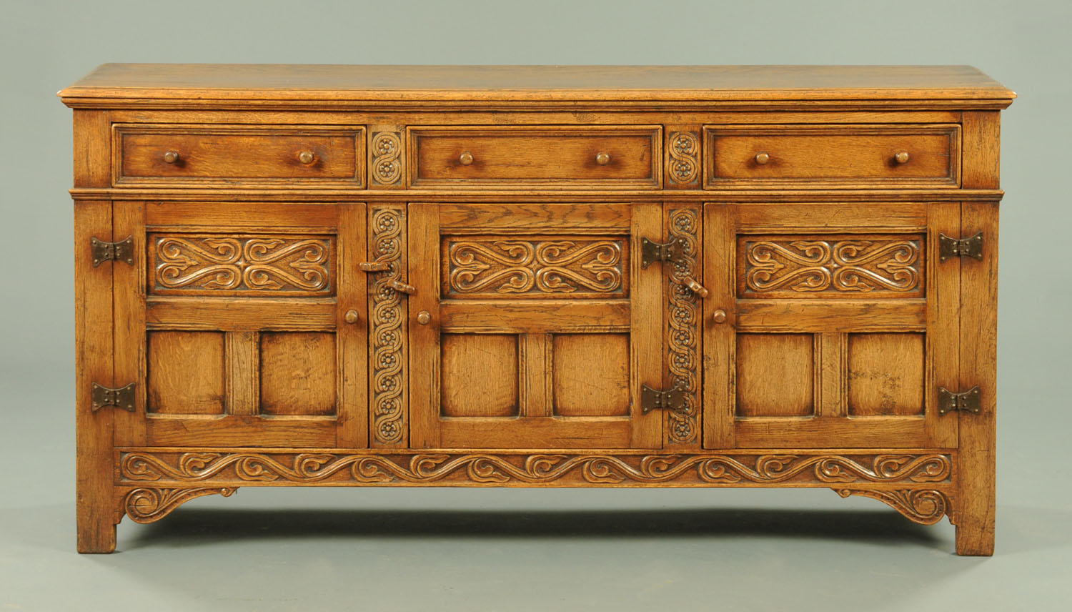 An Ipswich Oak Dresser Base Or Sideboard With Moulded Edge Above A
