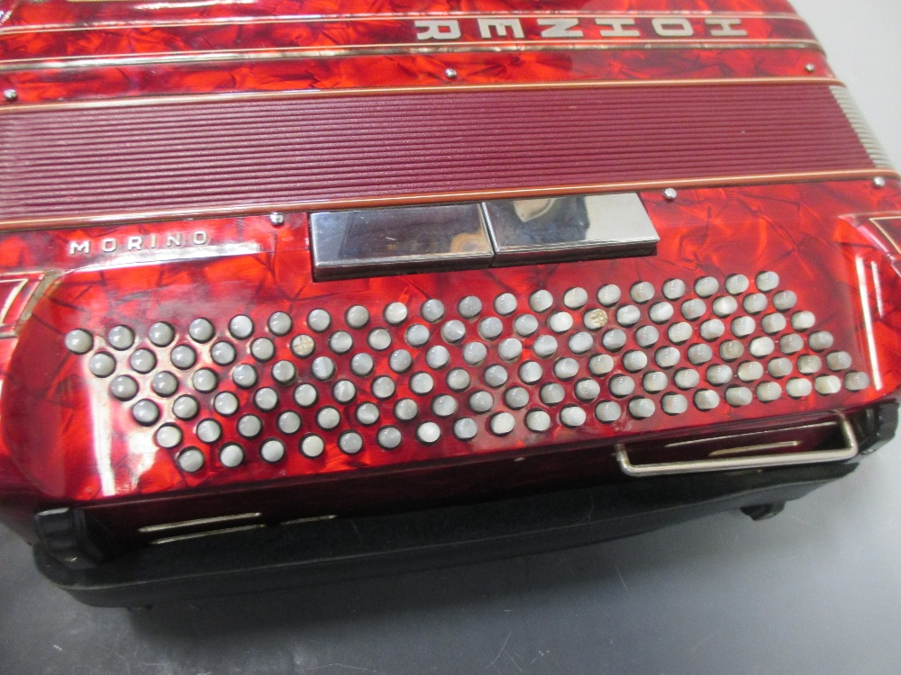 Lot 160 - A Hohner Shand Morino 46 button accordion, together with Hohner hard shelled felt lined case