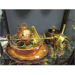 A collection of copper, brass and metalware, including a scuttle, trivet, jam pan, kettle, convex