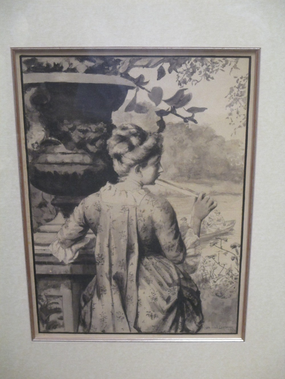 "Lot 243 - John Ward Dunsmore (American 1856-1945, exh. 1884-1888) ""A Lady with Fan"" , signed, grisaille"
