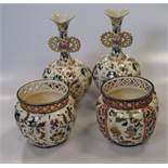 A pair of Zsolnay vases and two similar planters (4)