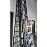 LOT OF LADDERS; A-frame (2), extendable (1), roller shop ladder