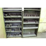 LOT OF CAT-40 TOOLING, COLLETS, JACOBS CHUCKS  (on two shelves)