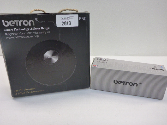 Lot 2013 - Betron Bluetooth speaker and a Betron Hi-Fi speaker.