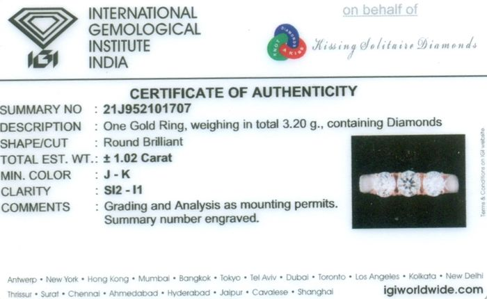 Lot 42 - IGI Certified 14 K / 585 Rose Gold Trilogy Solitaire Diamond Ring