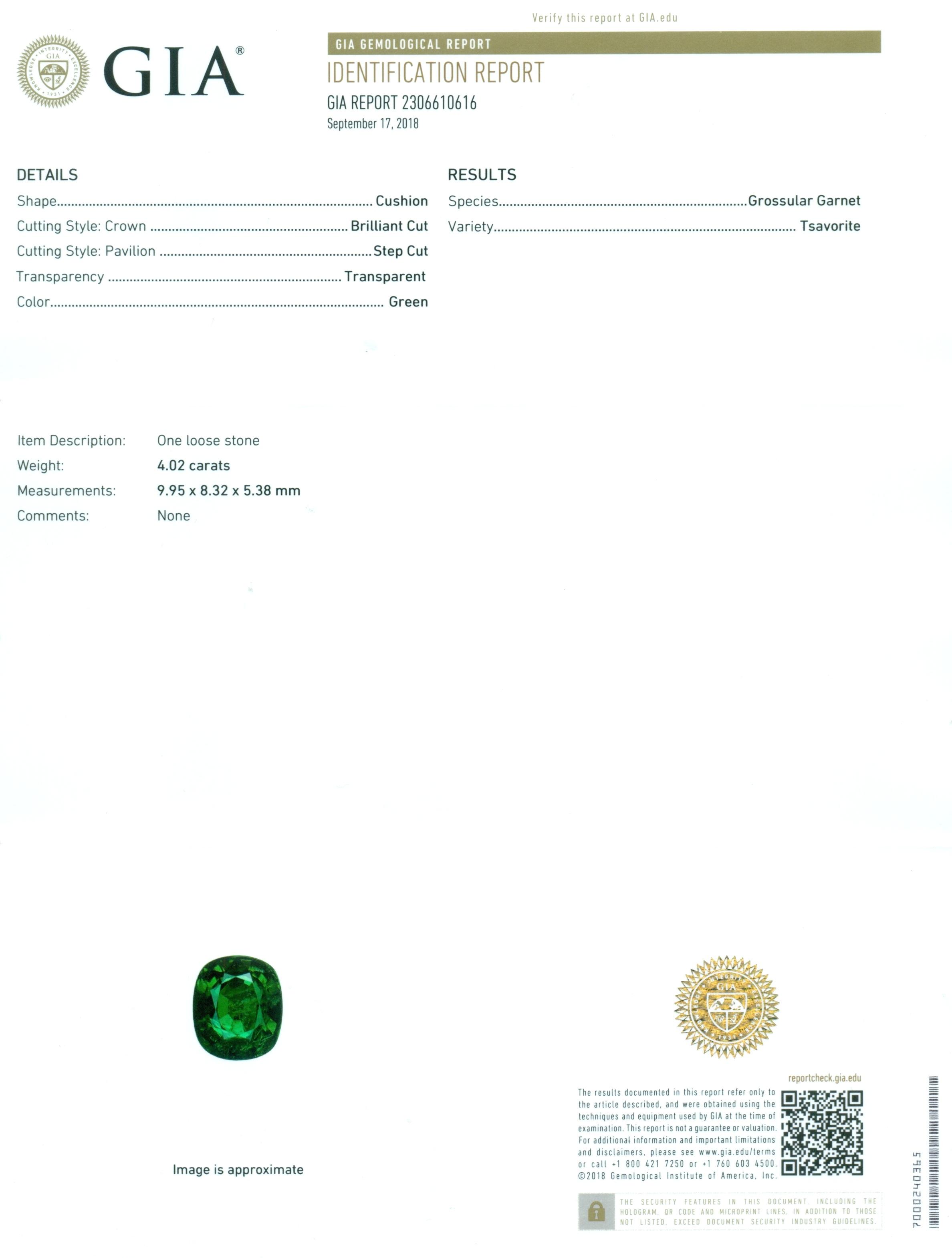 Lot 53 - GIA Certified 4.02 ct. Tsavorite Garnet - Untreated - KENYA, EAST AFRICA