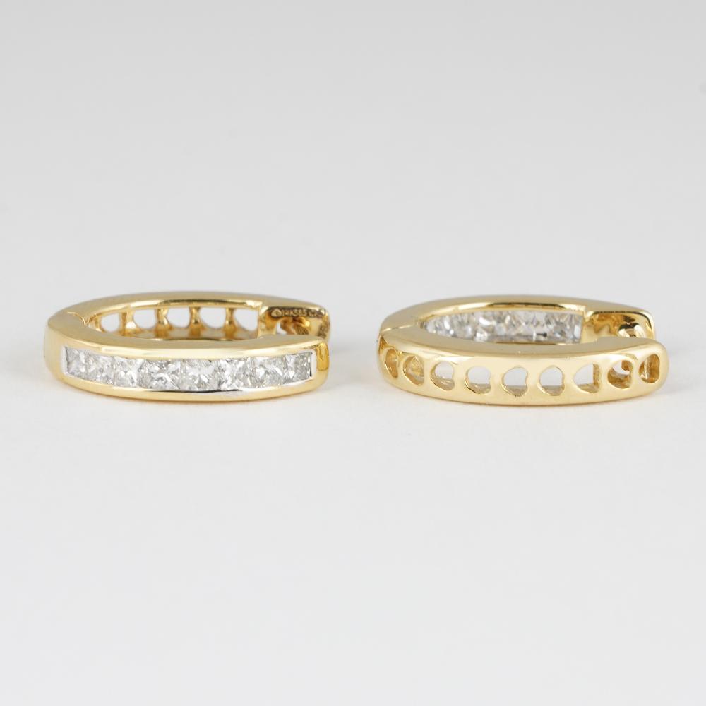 Lot 39 - 14 K / 585 Yellow Gold Diamond Hoop Earring
