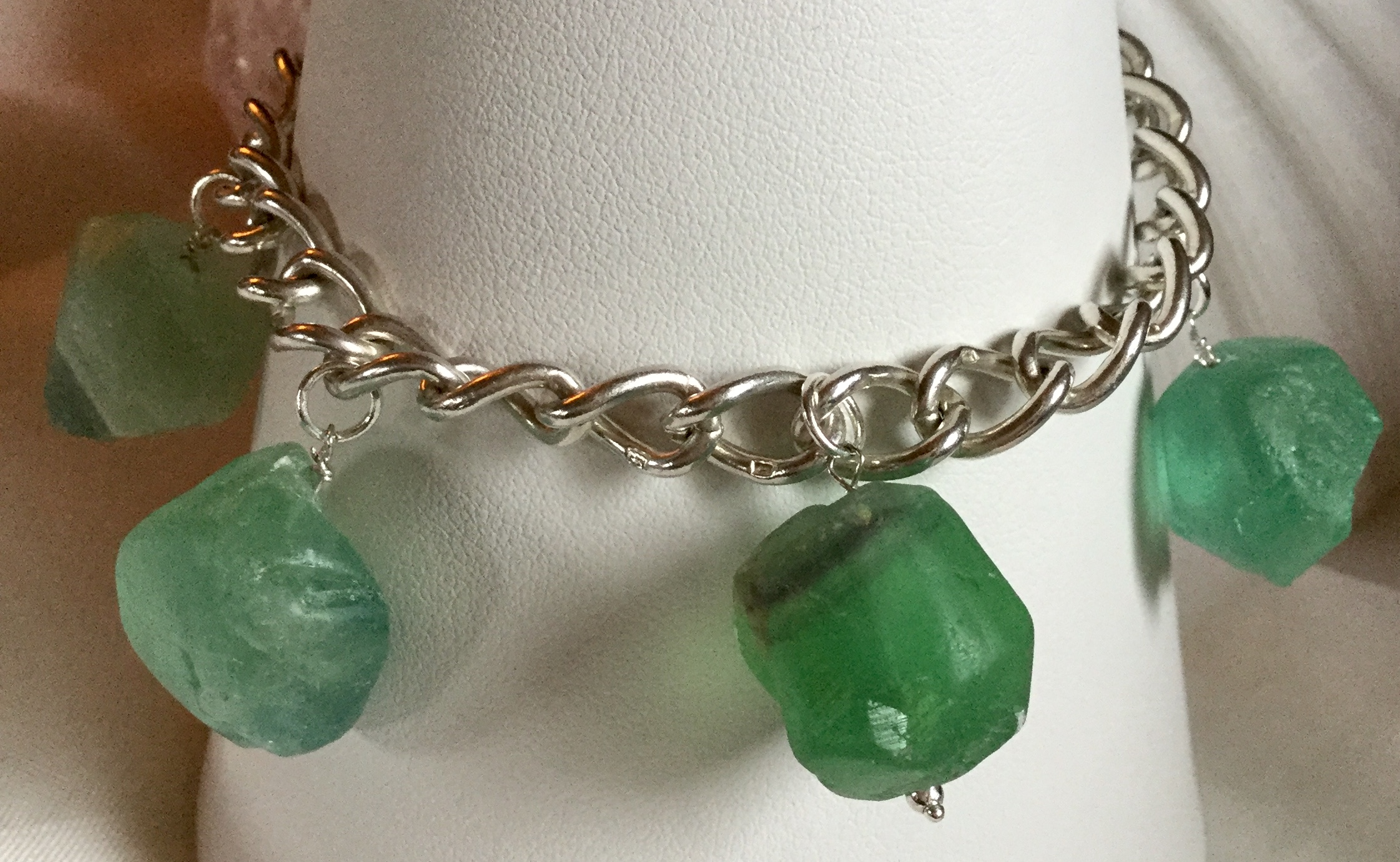 Lot 13 - Vintage Solid Silver 14.6 grams with Fluorite Green Charms