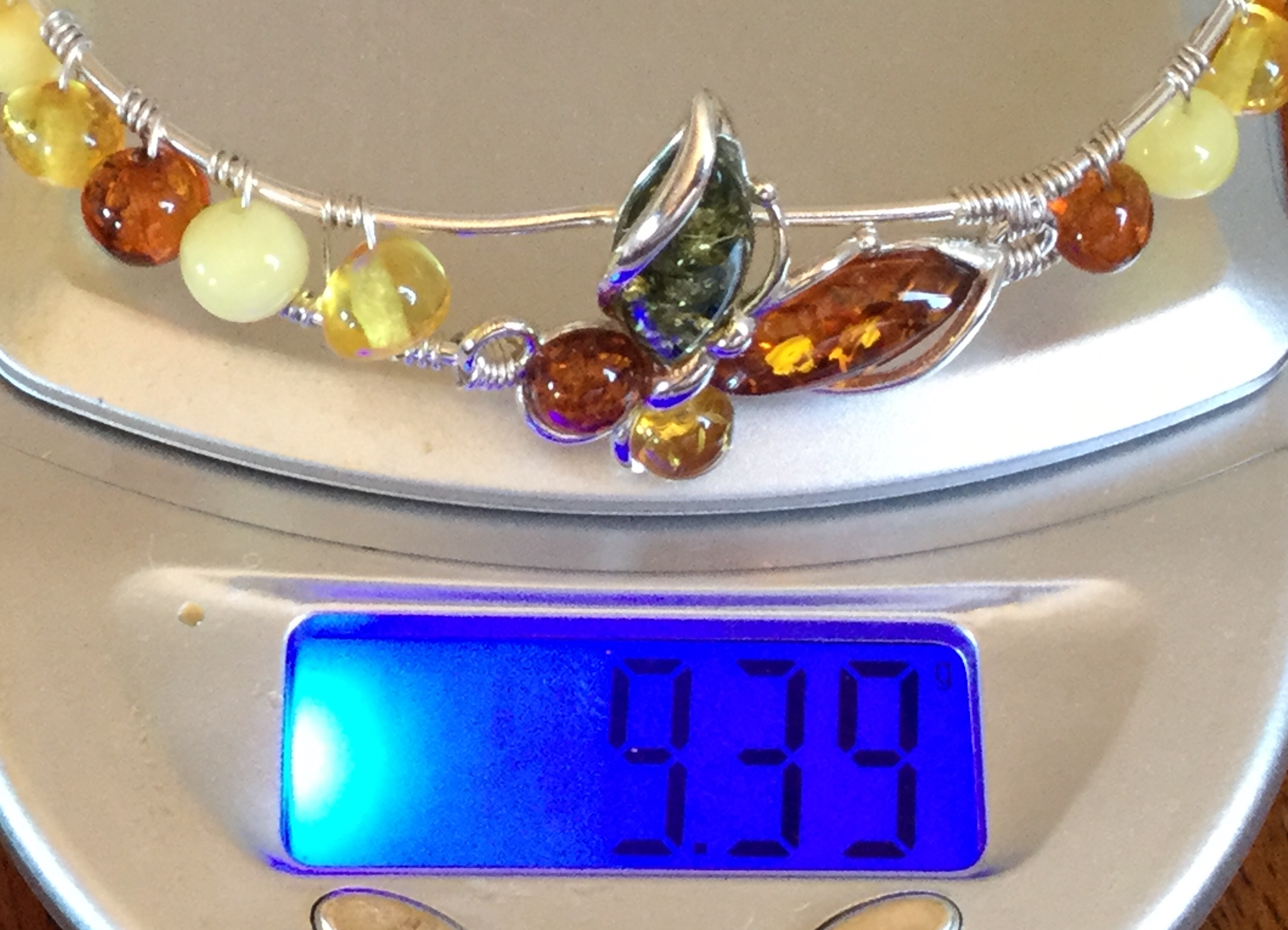 Lot 9 - Multi colour Baltic Amber butterfly bangle bracelet 925 solid silver