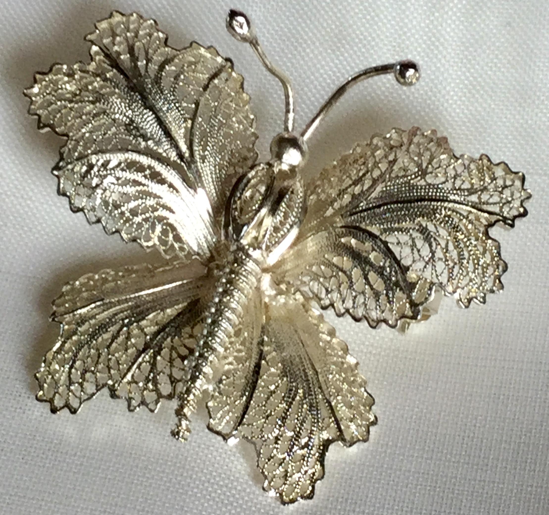 Lot 4 - Vintage Malta Butterfly Brooch Scarf Pin filigree 6.6 grams