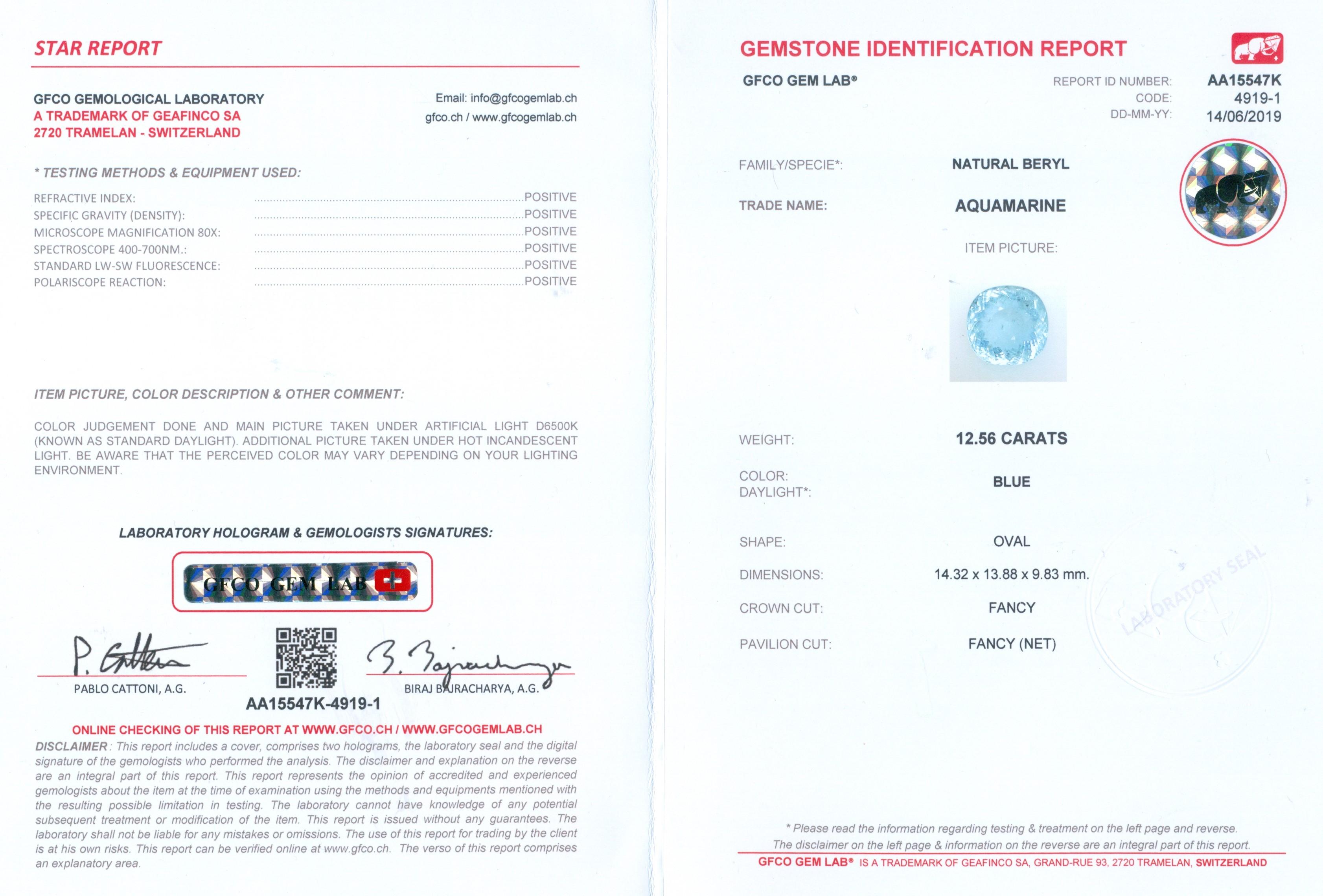 Lot 57 - GFCO (SWISS) Certified 12.56 ct. Blue Aquamarine - BRAZIL