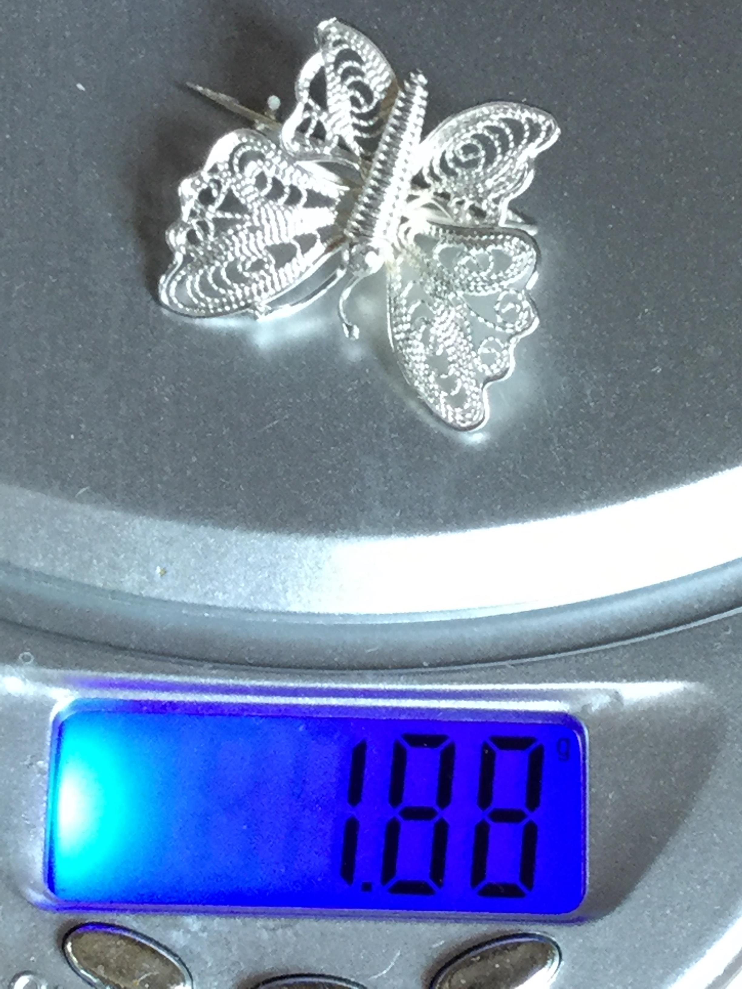Lot 3 - Vintage Silver Butterfly brooch Maltese fine filigree detail exquisite