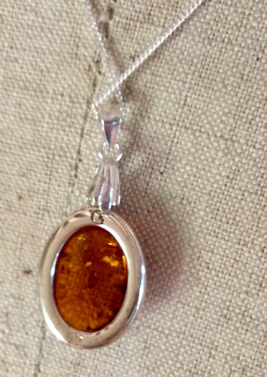 Lot 17 - Baltic Cognac Amber 925 Silver Pendant on 925 Silver chain with extender