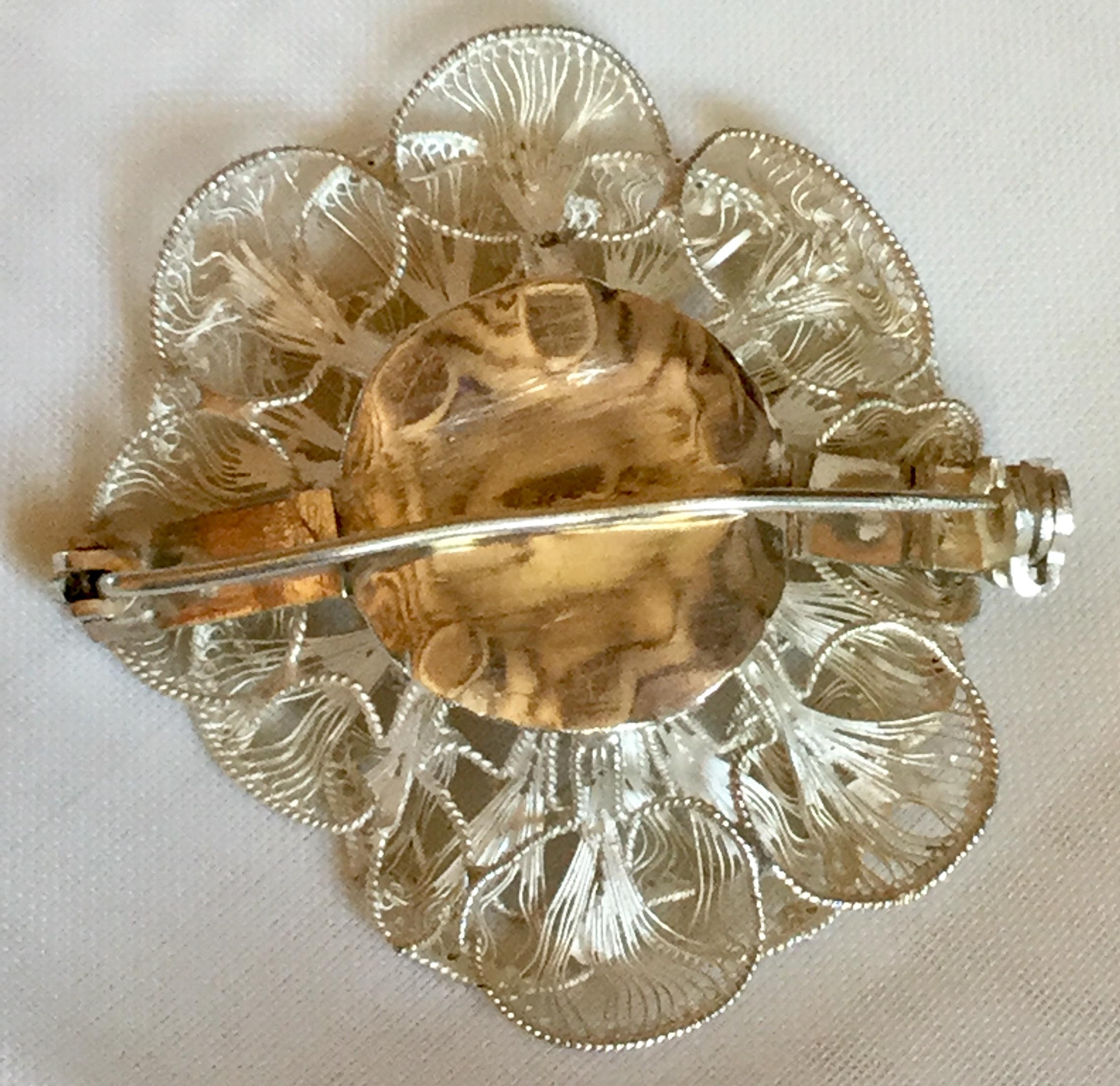 Lot 8 - Exquisite 1920c vintage filagree work Maltese Malta Flower Brooch Silver 9.92 grm