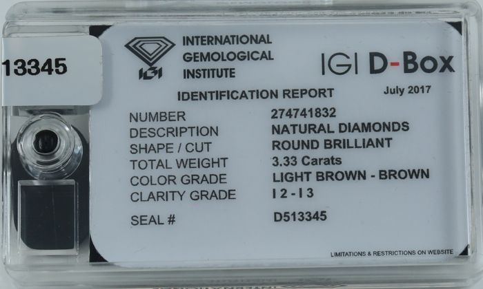 "Lot 59 - IGI Sealed 3.33 ct. - Diamond ""D-Box"""