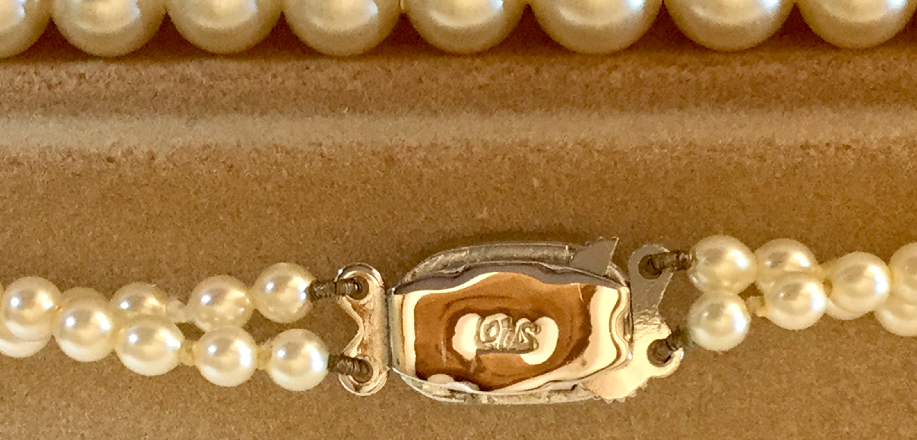"Lot 5 - Vintage Lotus Double row 18"" Pearls Diamanté Clasp marked Lotus for bride wedding"