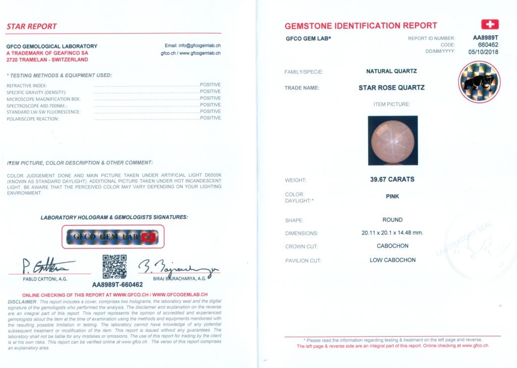 Lot 55 - GFCO (Swiss) Certified 39.67 ct. STAR ROSE QUARTZ - BRAZIL