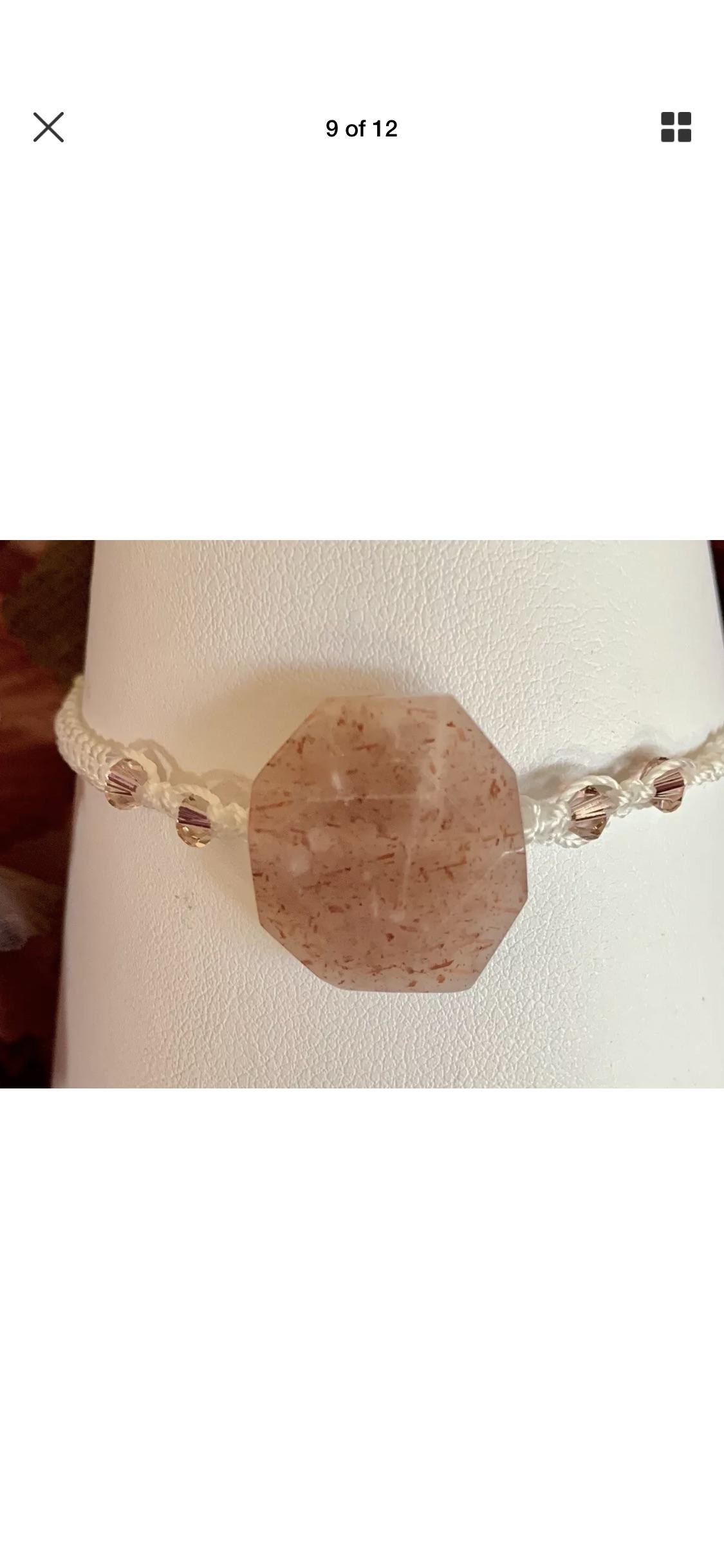 Lot 16 - Macrame Bracelet Lge Sunstone Swarovski elements each side very feminine Bracelet