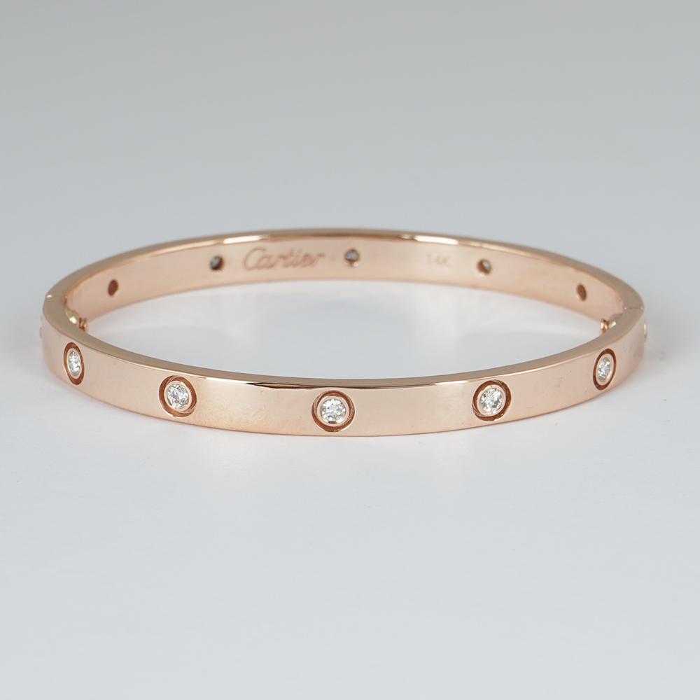 Lot 35 - 14 K / 585 Rose Gold Cartier Diamond Bracelet with screwdriver