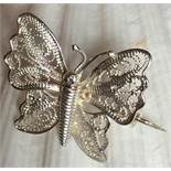 Vintage Silver Butterfly brooch Maltese fine filigree detail exquisite