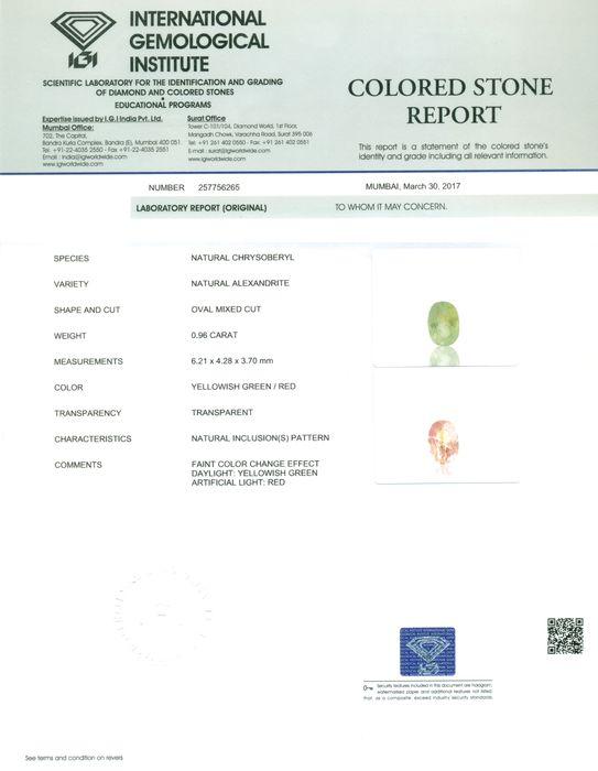 IGI Certified 0.96 ct. Color Changing Alexandrite MADAGASCAR - Image 2 of 9
