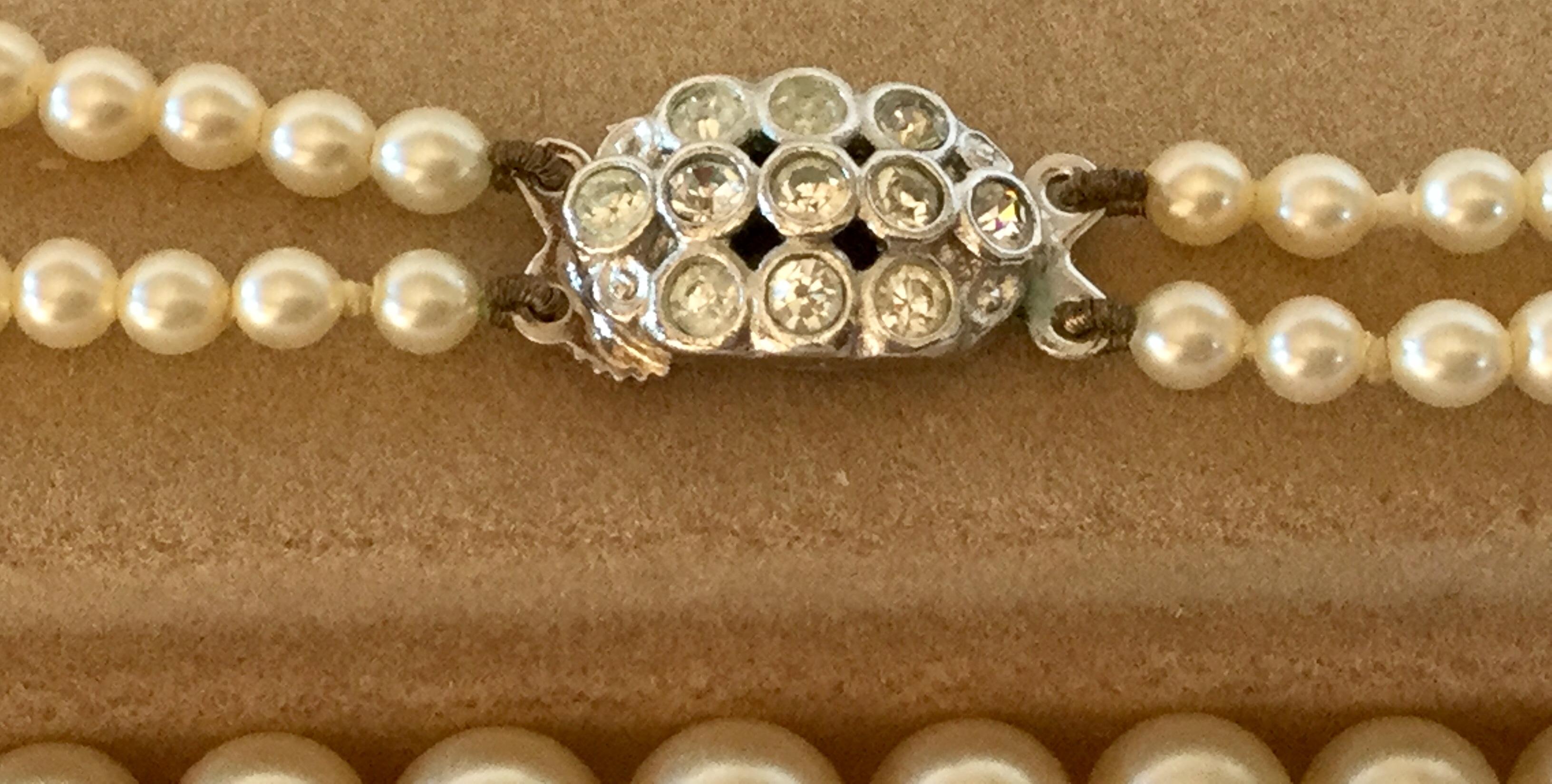 "Vintage Lotus Double row 18"" Pearls Diamanté Clasp marked Lotus for bride wedding - Image 2 of 5"