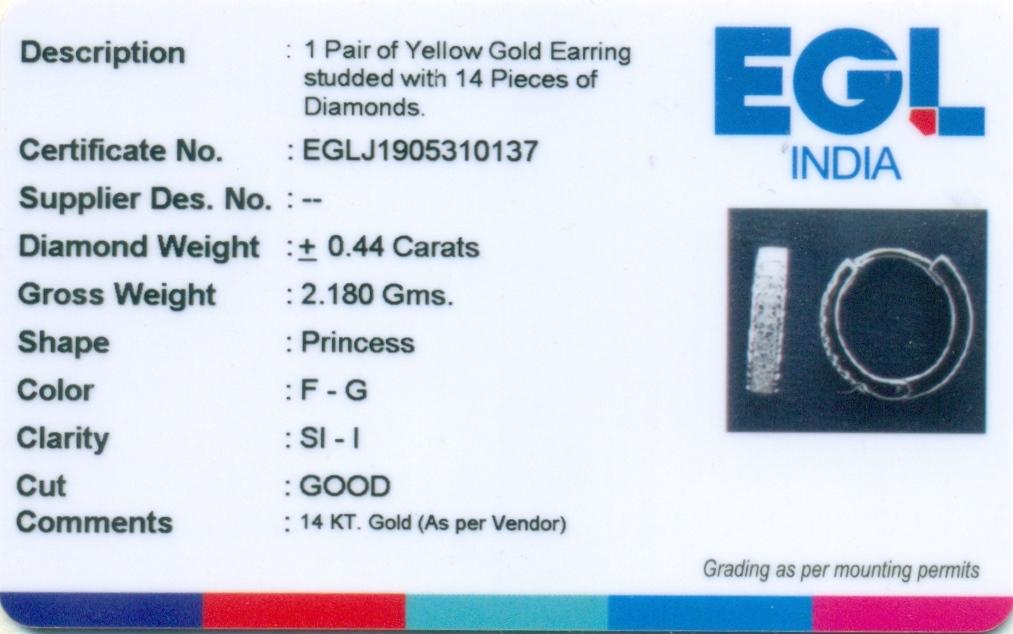 Lot 44 - EGL Certified 14 K / 585 Yellow Gold Diamond Hoop Earring