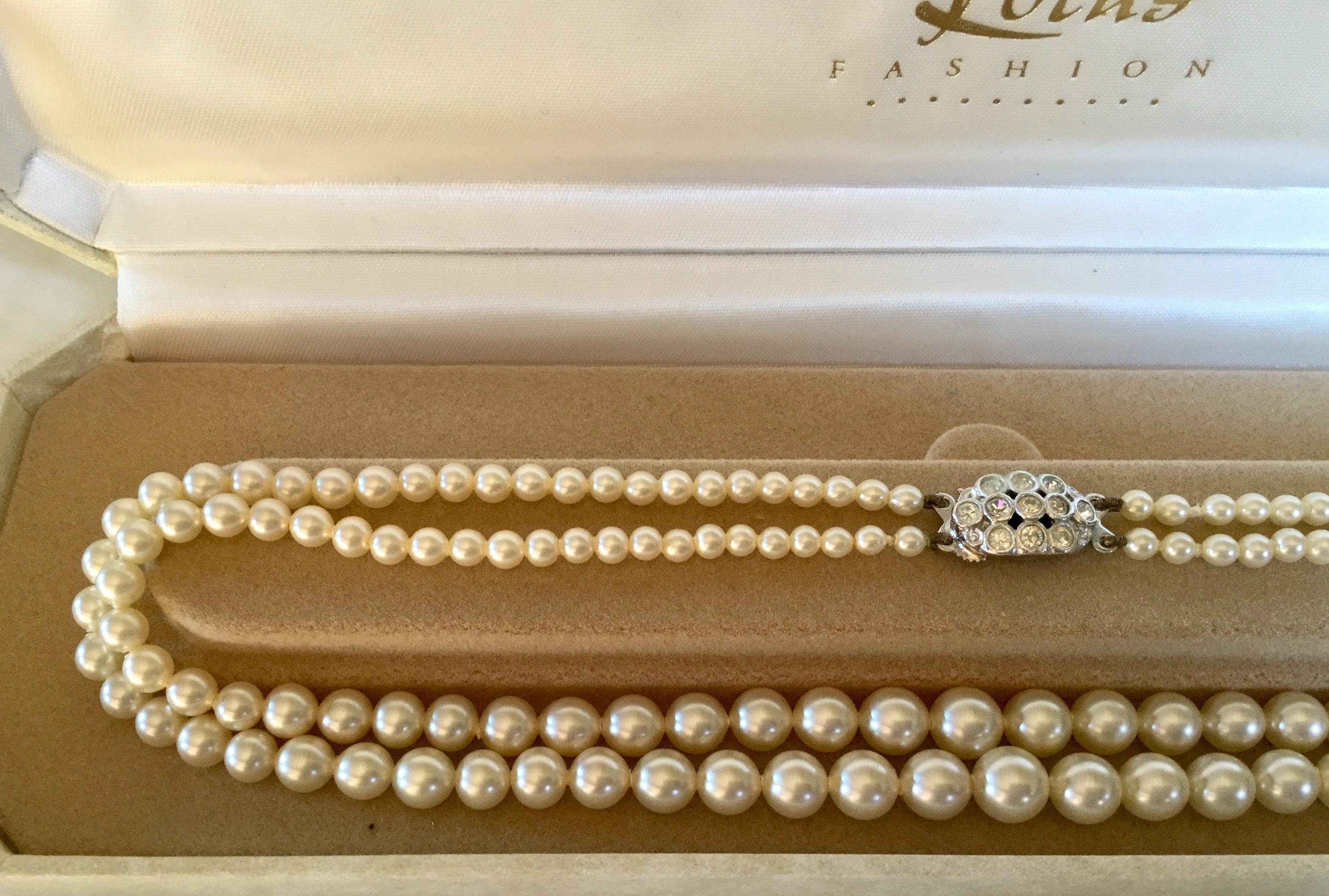 "Vintage Lotus Double row 18"" Pearls Diamanté Clasp marked Lotus for bride wedding - Image 3 of 5"
