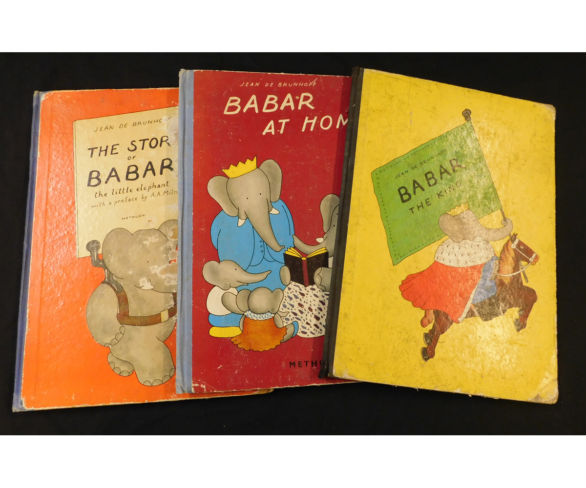 JEAN DE BRUNHOFF: 3 titles: BABAR THE KING, London, 1936, 1st edition, folio, original cloth