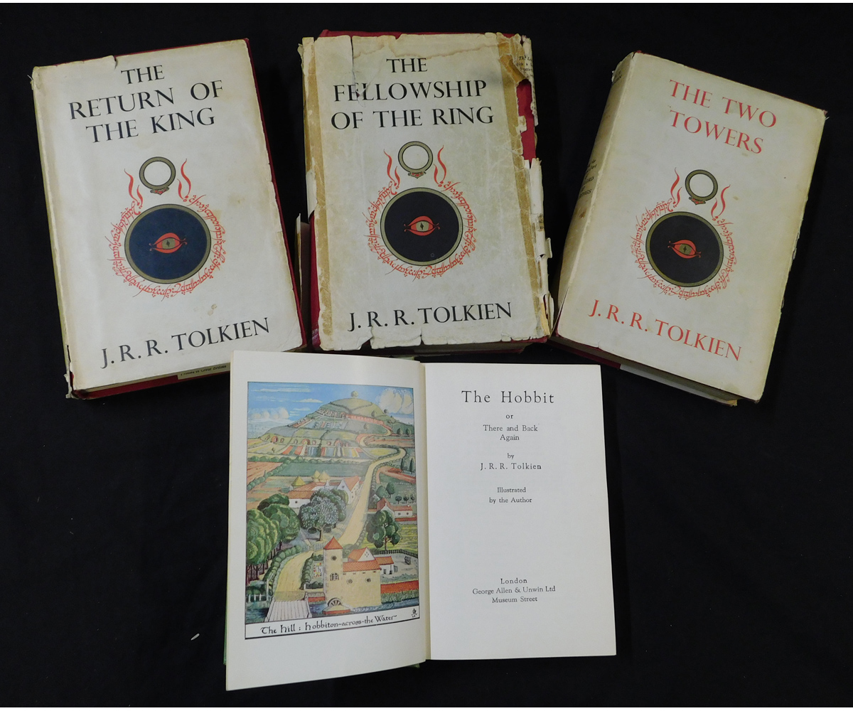 J R R TOLKIEN: 2 titles: THE HOBBIT, London, 1959, 11th impression, coloured frontis + full page