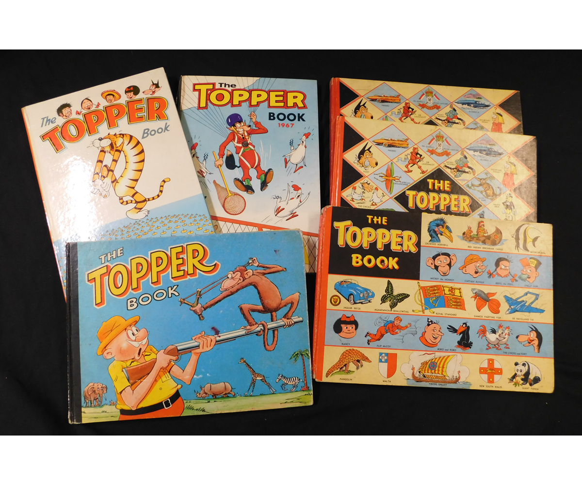 THE TOPPER BOOK, Annuals for 1955, 1958 (2), 1959, 1963, and 1967, all published D C Thomson & Co,
