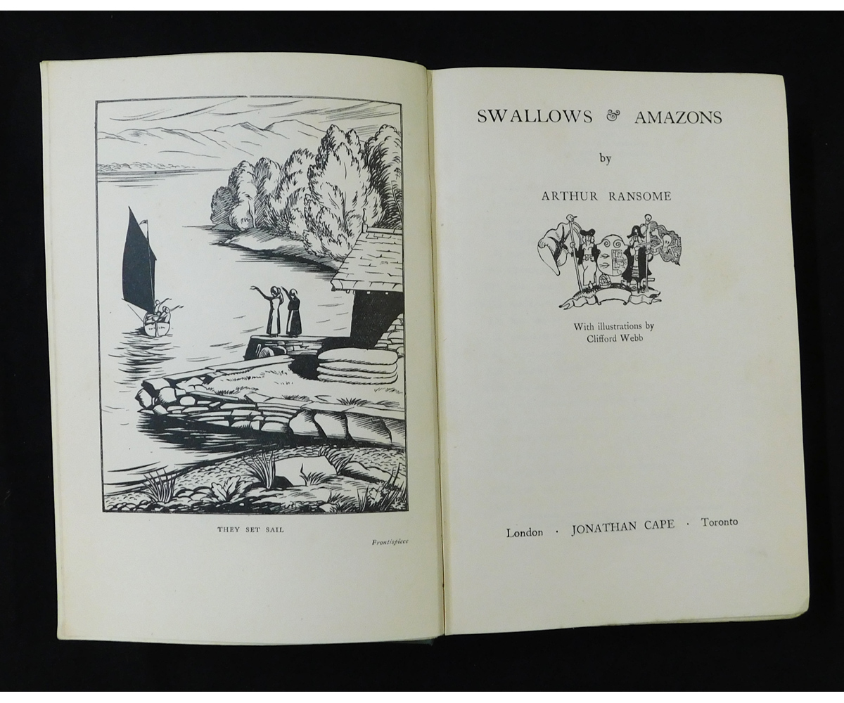 ARTHUR RANSOME: SWALLOWS AND AMAZONS, illustrated Clifford Webb, London, December 1932 reprint, - Image 2 of 2