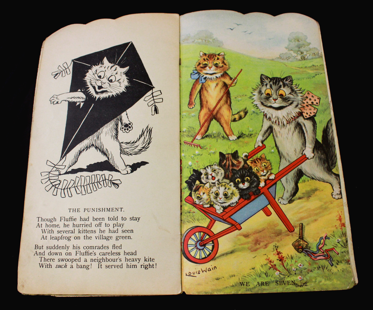 LOUIS WAIN: KITS AND CATS [SHAPE BOOK], London, Raphael Tuck, circa 1930, 4 full page leaves of - Image 4 of 5
