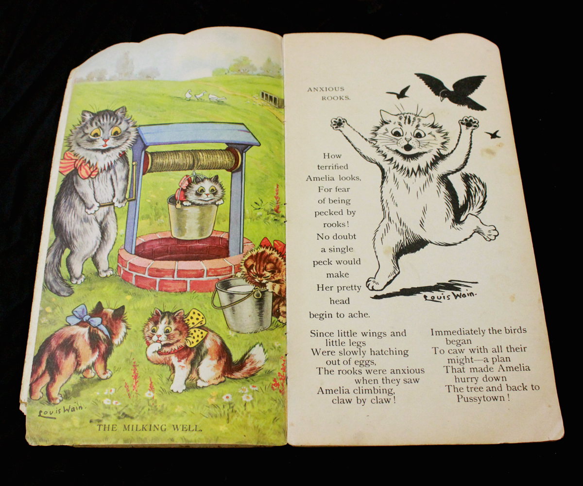 LOUIS WAIN: KITS AND CATS [SHAPE BOOK], London, Raphael Tuck, circa 1930, 4 full page leaves of - Image 2 of 5