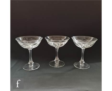 A set of six 20th Century Moser champagne coups or saucers in the Lady Hamilton pattern with slice cut bowl and stem, height