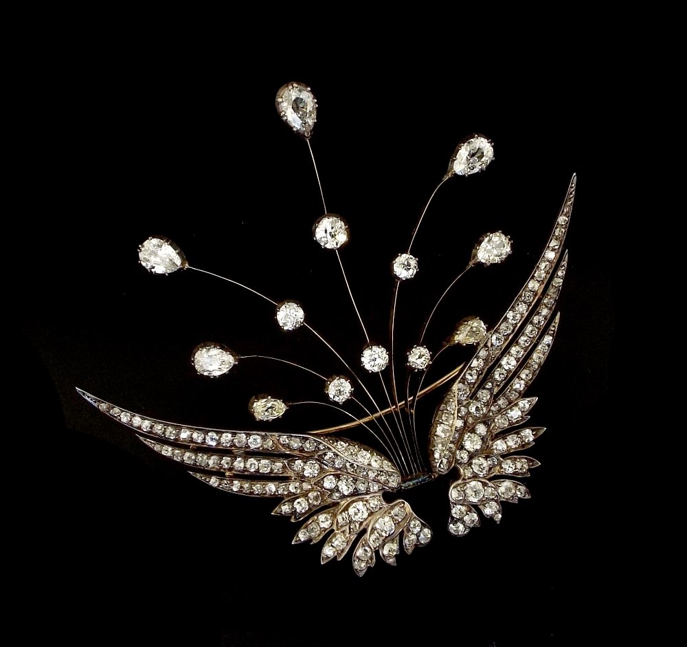 Lot 357 - (536536-1-A) Fine 19th century French en tremblant diamond floral spray brooch, with pear and old-