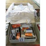 LOT - CASE OF PLASTIC SNAP LID STORAGE BOXES, MISC SPECIALTY LIGHT BULBS