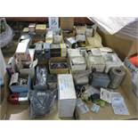 LOT - (4) BOXES OF ELECTRIC CONTROLS, RELAYS, TIMERS, SWITCHES, ETC.