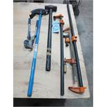 Two pipe benders, sledge hammer, three clamps
