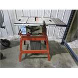 Skilsaw table saw, 10in blade, angles up to 45 degrees, 17in x 27in work surface, dust bag collector