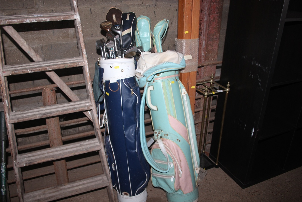 Lot 875 - Two leather golf bags and contents