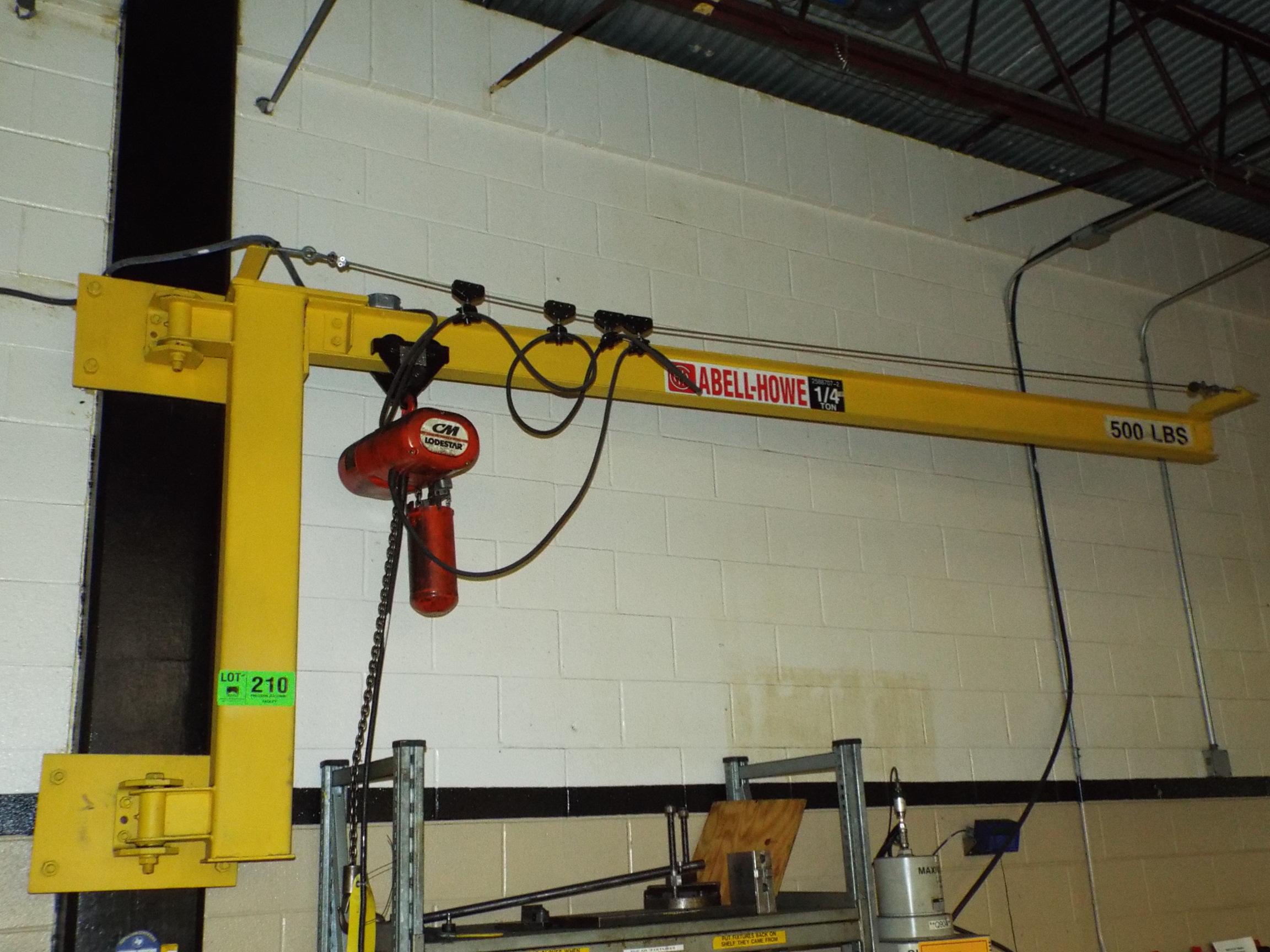Motorized Wall Mounted Jib Crane : Abell howe ton capacity wall mounted jib arm with cm