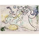 Trois femmes jouant au ballon sur la plage