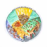 """Decorative plate illustrated with the image of the kibbutz """"Ein Hod"""", by Marcel Iancu"""