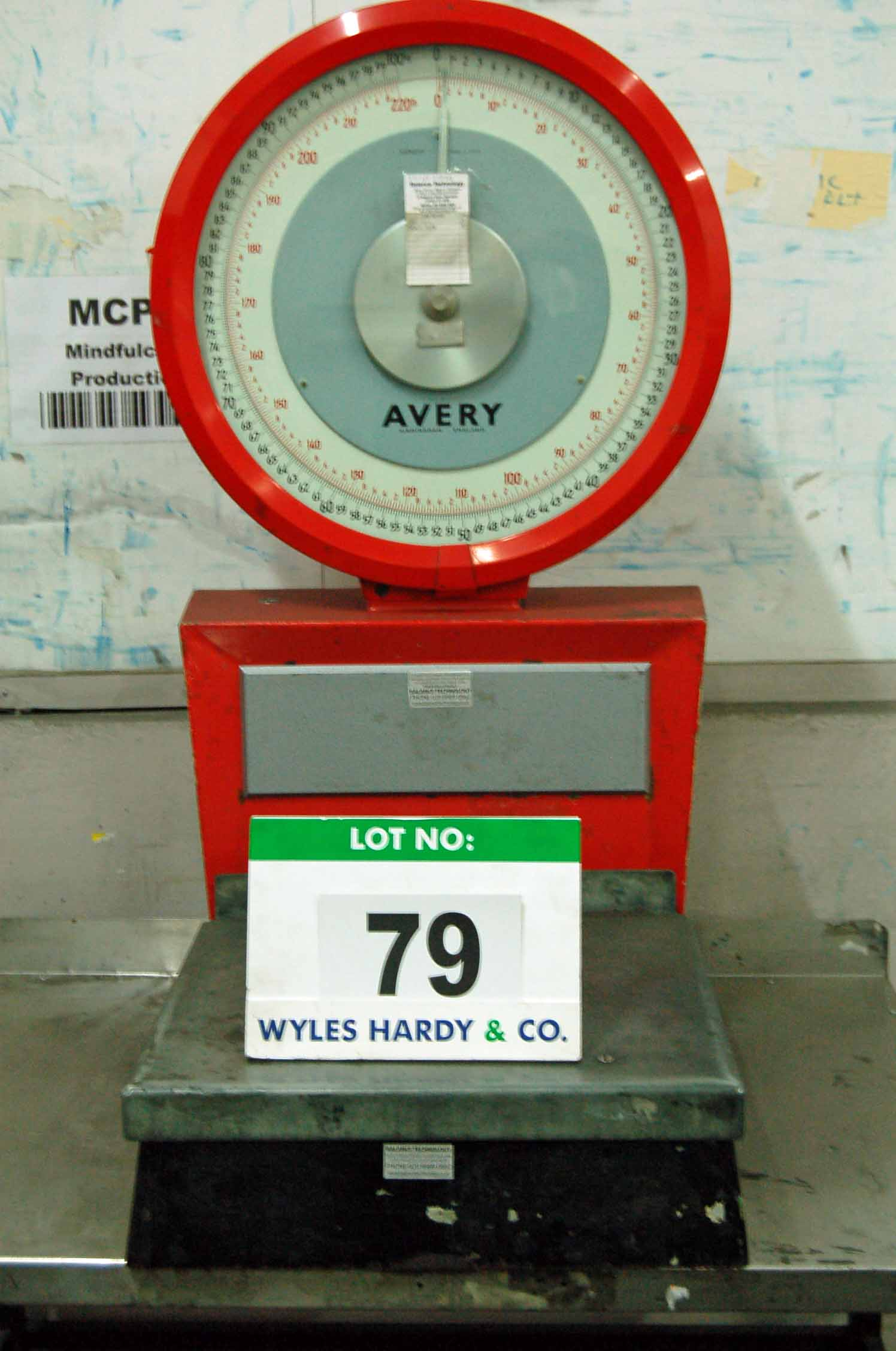 Lot 79 - An AVERY 100Kg/220lb capacity Analogue Platform Scales and An Approx. 46 inches x 32 inches