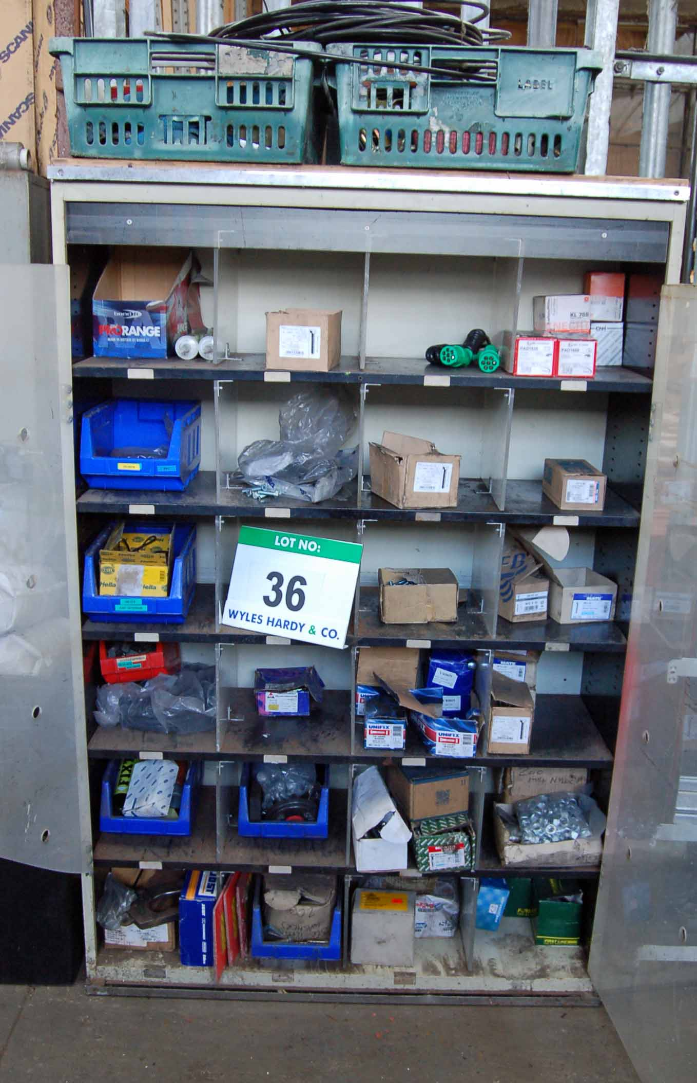 Lot 36 - A Cream Steel Cabinet with A Quantity of Various Fittings including M12 M10 , M8 and M6 Bolts, MAHLE