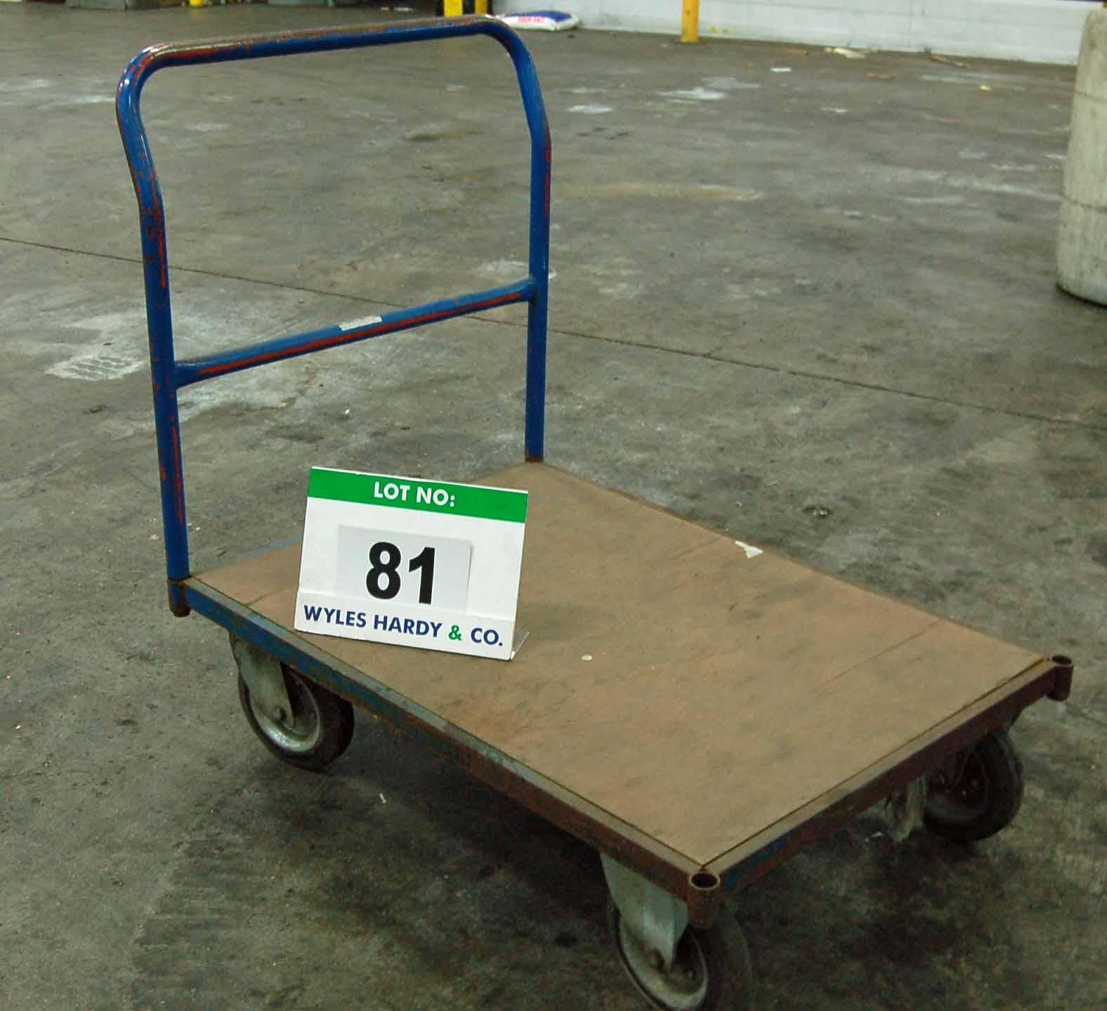 Lot 81 - An Approx. 100cm x 70cm Steel Framed Platform Trolley