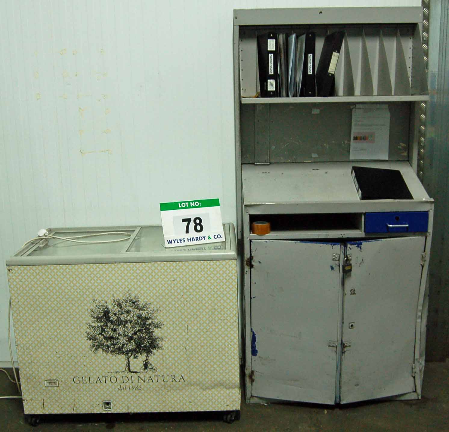 Lot 78 - A Grey/Blue Steel Lectern Cabinet and A Glazed Display Chest Deep Freezer (240V)
